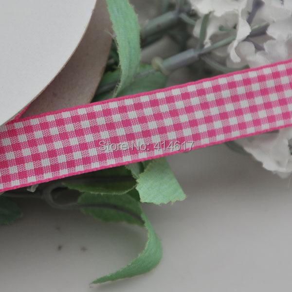 Upick 5 8 15mm Fushia One Roll font b Tartan b font Plaid Ribbon Bows Appliques
