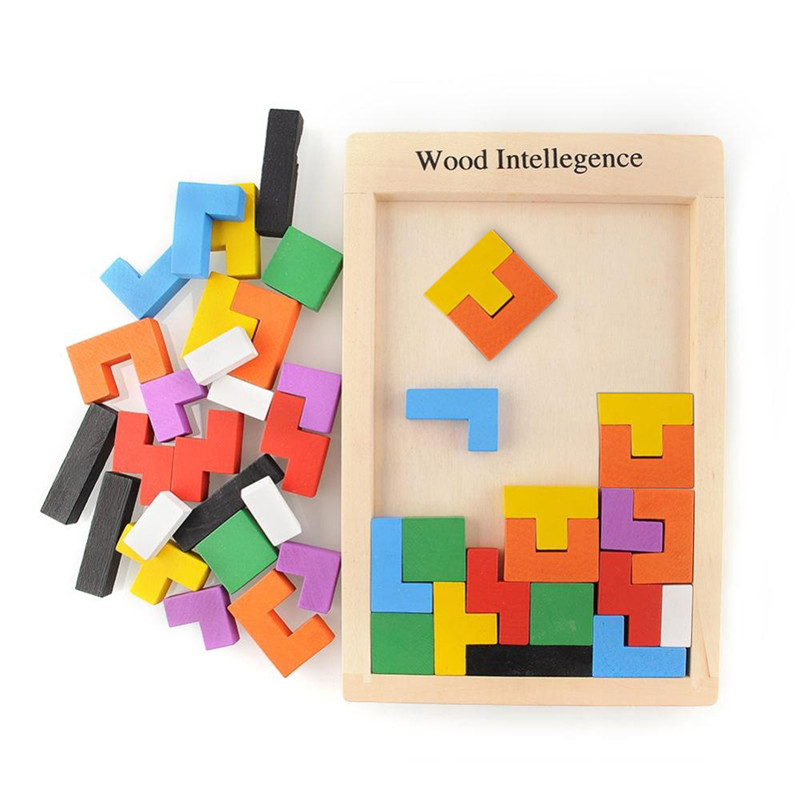 Colorful Wooden Tangram Brain-Teaser Puzzle Tetris Preschool Magination Intellectual Educational Kids Toy For Kids Baby Children
