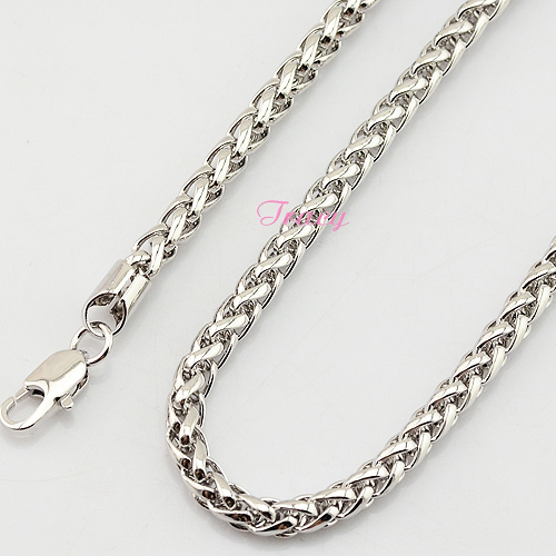 4mm 5mm Men Unisex Womens Boys 18K White Gold Filled Necklace Braid Wheat Style Chain Jewelry(China (Mainland))