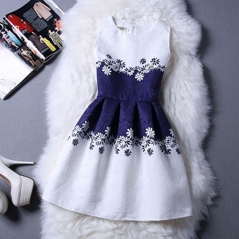 New Brand Designer Summer Flower Print Vest Teenage Girls Dresses Princess Party Dresses For Girls Kids Clothes Children Costume(China (Mainland))