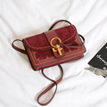Women Vintage Style Key Handbag Leather Shoulder Cross Body Satchel Rivet Lock Suede Flap Small Bag