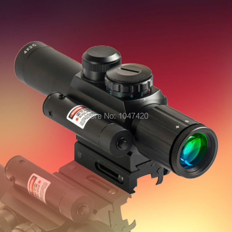 2pcs a lot wholsale sniper riflescope M6 green red dot laser hunting airsoft rifle scope high quality(China (Mainland))