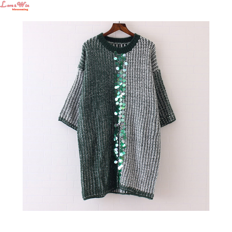 Colored Sequins Appliques Batwing Sleeve Fron Split Sweater Dresses Winter Long Knitting Sweaters Maglione(China (Mainland))
