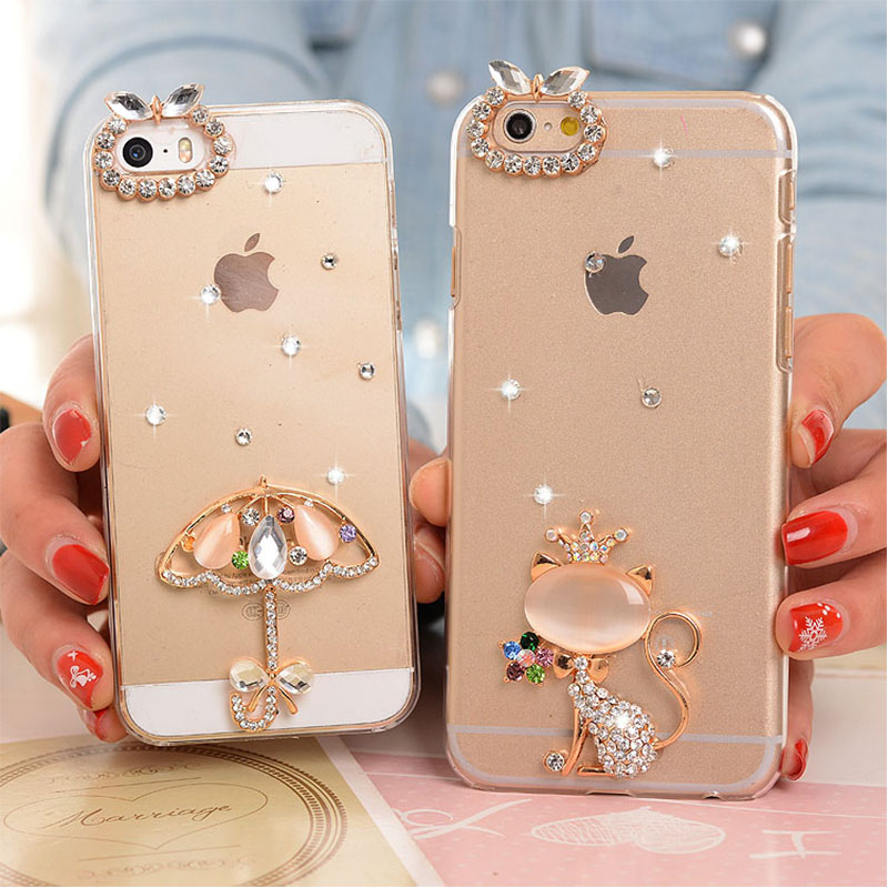 DIY Manual Luxury Rhinestone Crystal Goat Cat PC Hard back cover for iPhone 4/4S 5/5S 6/6S 6plus/6S plus Free Shipping(China (Mainland))