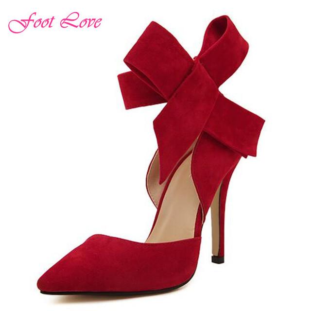 Весна новое женщины туфли на высоком каблуке мода острым носом черные высокие каблуки сексуальные биг боу-ничья ну вечеринку женская обувь 5 цвета