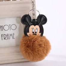 Fofo Buuny Pompon Pele Mickey Keychain Mulheres Faux Pele De Coelho Pom Pom Bola Mouse Encantos Chaveiro Saco de Carro Bugiganga presente(China)