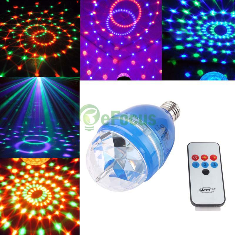 RGB Rotating Stage Light E27 LED Club Sound-activated Bulb W/ Remote Control DTZE #50395(China (Mainland))