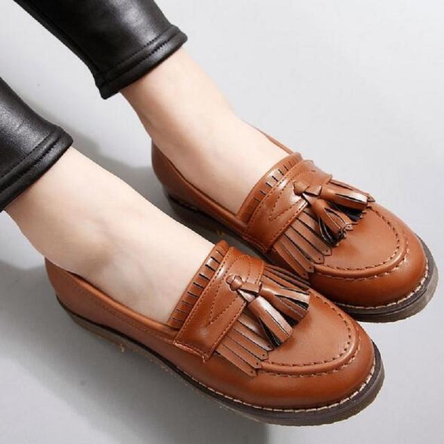 Весна осень оксфорд обувь женщин 2015 новый модный свободного покроя плоским пятки с бантом узел круглый носок туфли-принцесса конфеты цвет туфли-loafer обувь
