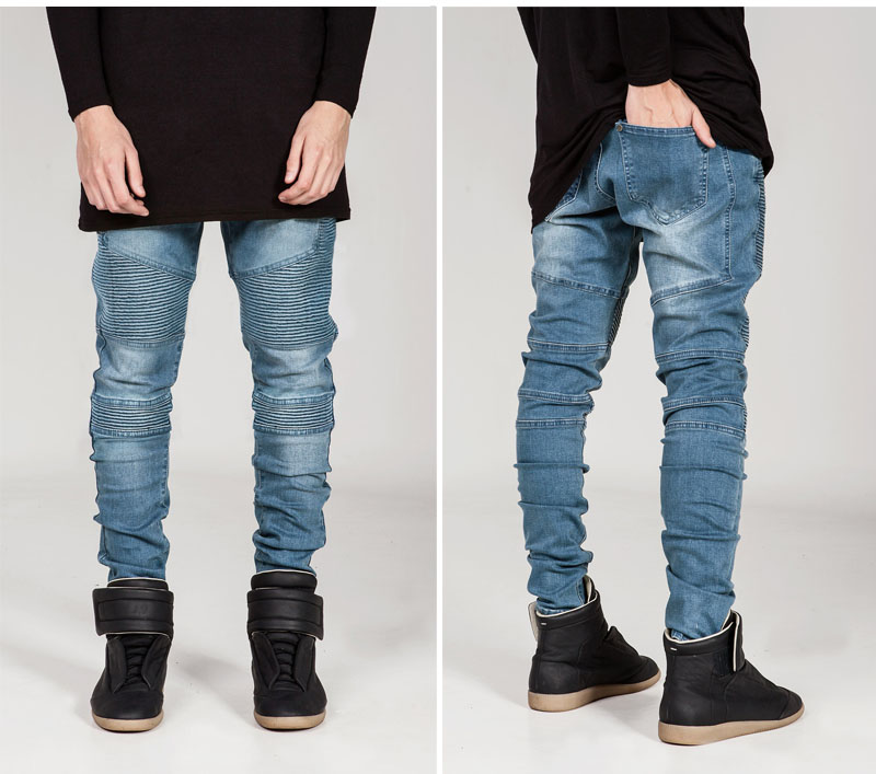 European Fashion Mens Straight Slim Fit Trousers Biker Jeans Casusl Pleated Denim Pants