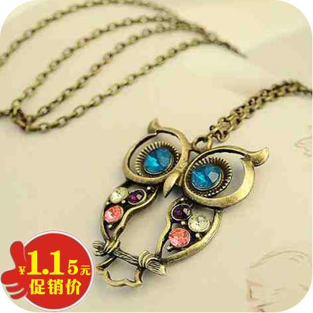 Free shipping min order is $10  accessories three-color cutout carved owl necklace sweater chain