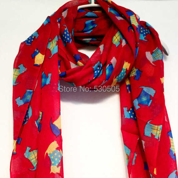 Red Multi Colour Scottish Terriers Autumn / Winter / Spring Summer Red Scarf free shipping 10pcs/lot(China (Mainland))