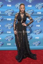 Jennifer Lopez O Long Neck manches naturel taille longue Balck Sexy See Through dentelle robes de célébrités(China (Mainland))