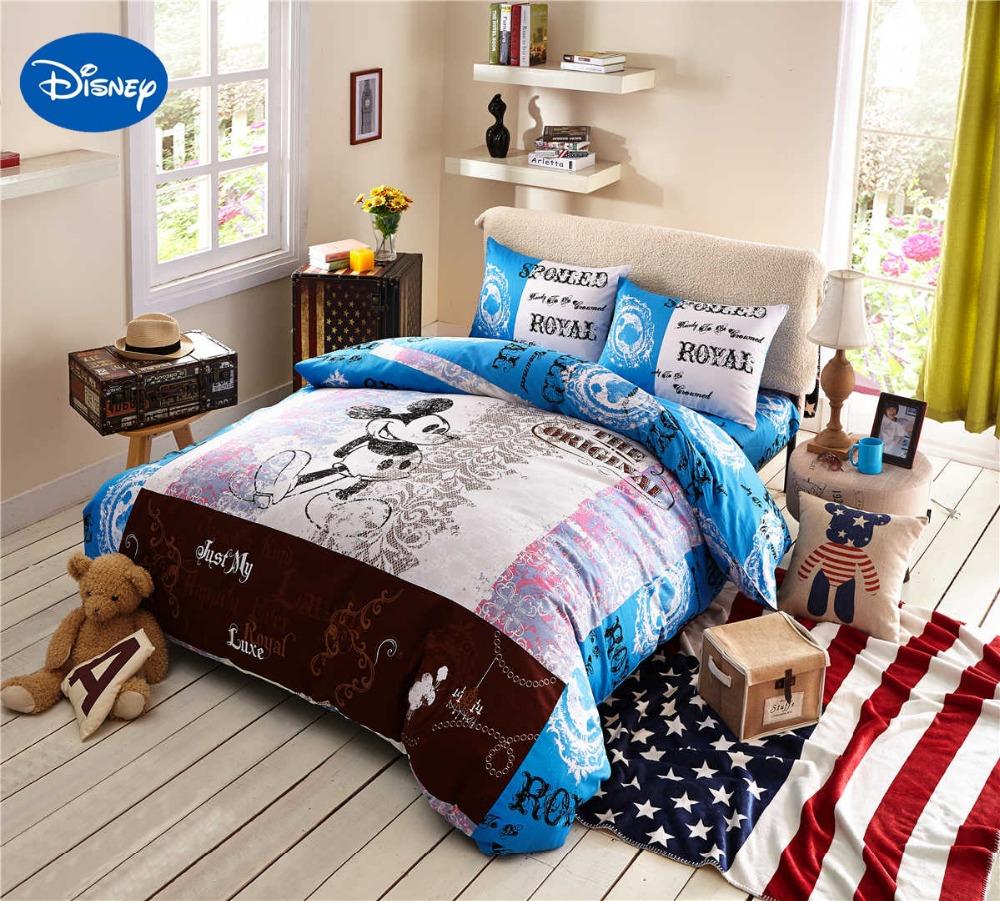 Cartoon Disney Print Bedding Set Cotton ROYAL Blue Mickey