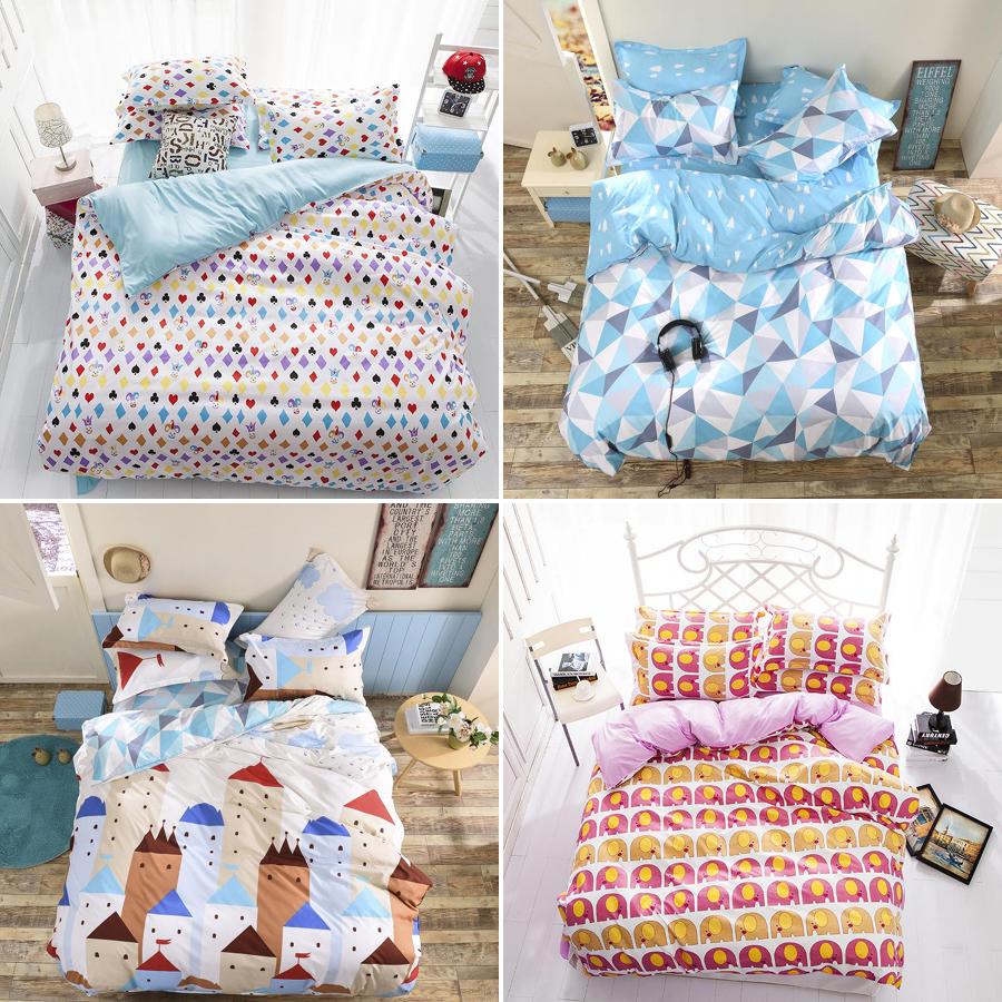 Têxtil de casa, Impresso 4 Pcs jogo de cama de luxo incluem capa de edredon fronha, Rei rainha gêmeo consolador conjuntos de cama(China (Mainland))