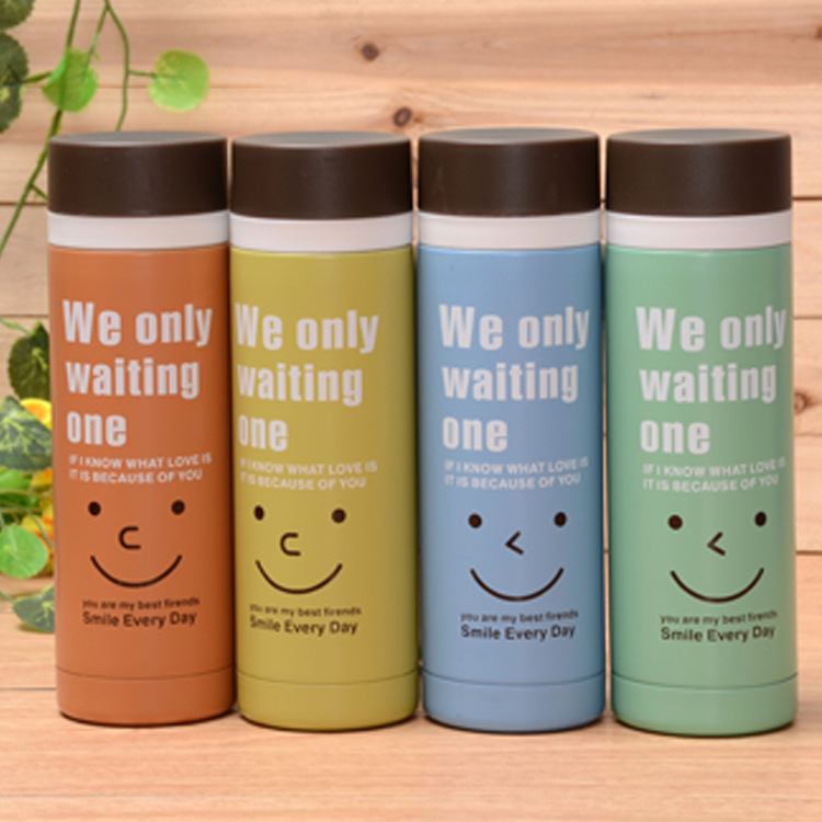 2015 cute candy colored smiley Water Bottle Plastic Sport My Bottle 300Ml Fashion Readily Cup(China (Mainland))