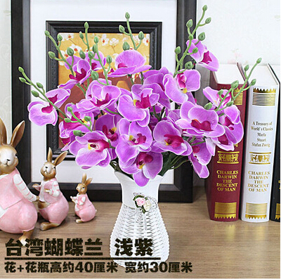 plastic artificial flowers set furniture simulation table decorations butterfly orchid silk flowers potted light purple 1suit(China (Mainland))