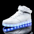 Led luminous women men casual shoes simulation sole for adults neon basket high glowing with charge