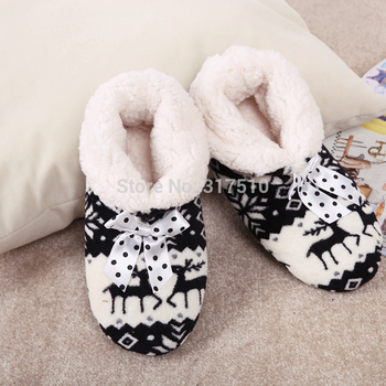 New Winter Foot Warmer Indoor Boots Christmas Reindeer Coral Fleece Soft Plush Home Padded Shoes Shoes boots 5 Colors