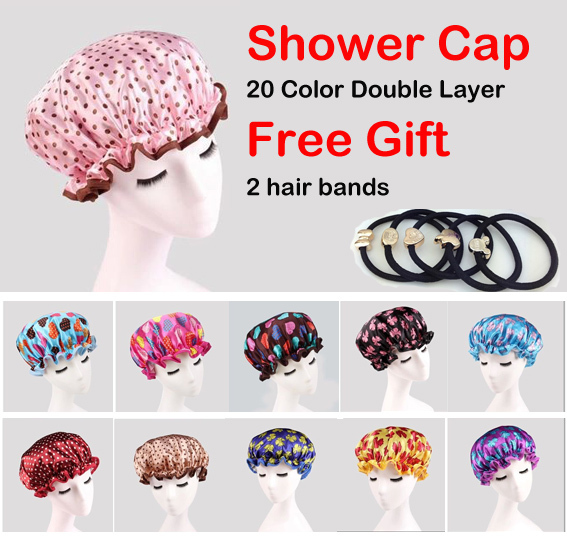 Women Waterproof Shower Caps Elastic Band Hat Hair Bath Double Spa CapHigh Quality! Lady's Magic Drying Towel/Ha - BL Better Life store