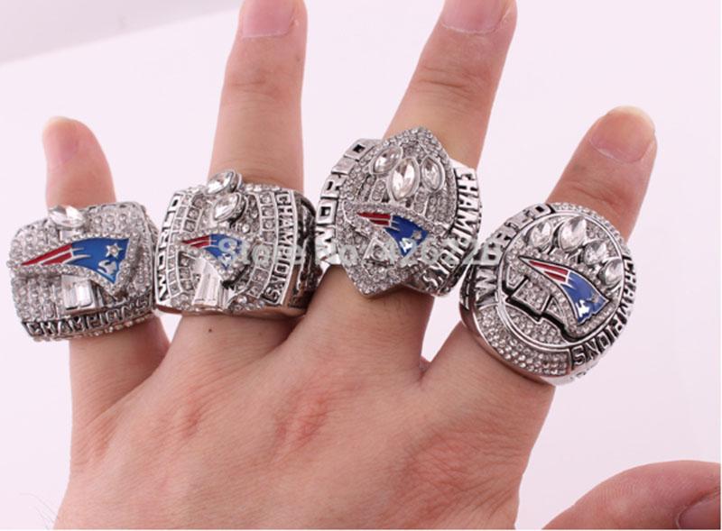 Wholesale Free Shipping 2001 2003 2004 2014 New England Patriots Super Bowl Football Championship Ring Set Size 8-14(China (Mainland))