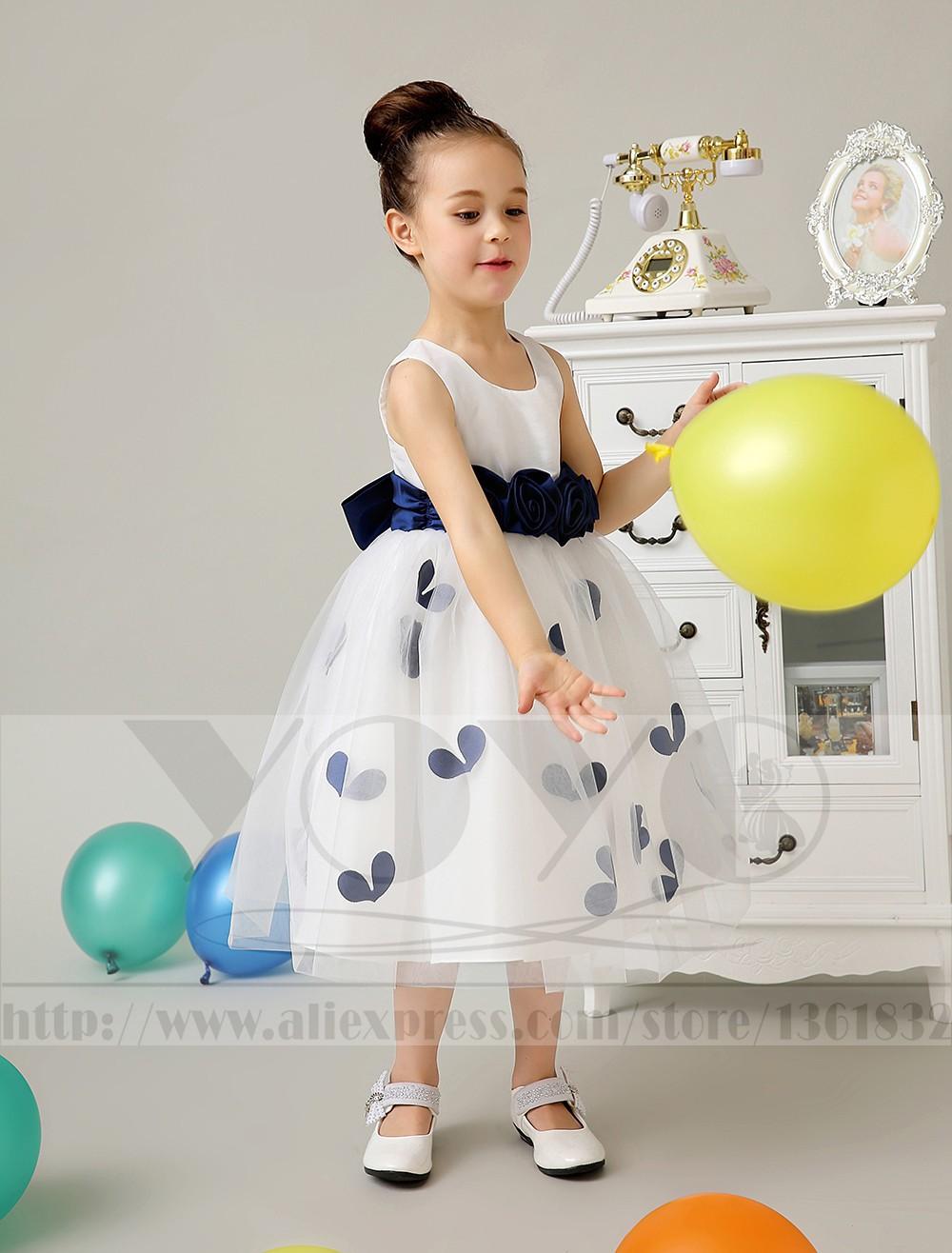 Скидки на Тюль платье-линии кот маленькие девочки платья с синими венчания орденской ленты девушки dresess девушки платья торжества платья