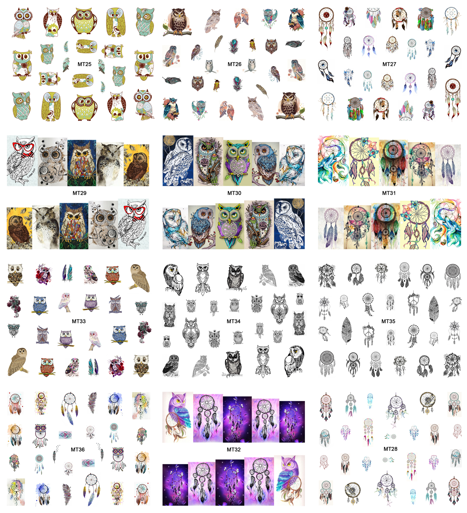 New 12 Sheets/Lot Nail MT25-36 Mix Owl Dream Catcher Nail Art Water Transfer Decal Sticker For Nail Art Tattoo (12 DESIGNS IN 1)(China (Mainland))