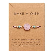 Rinhoo Make a Wish หินธรรมชาติที่มีสีสันทอกระดาษการ์ดสร้อยข้อมือ Lucky Red String สร้อยข้อมือ Femme แฟชั่น(China)