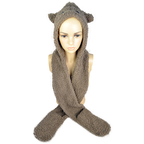 Women winter scarves warm thicken fleece cat head hooded faux fur scarf with glove for winter poncho accessories , NL-1769(China (Mainland))