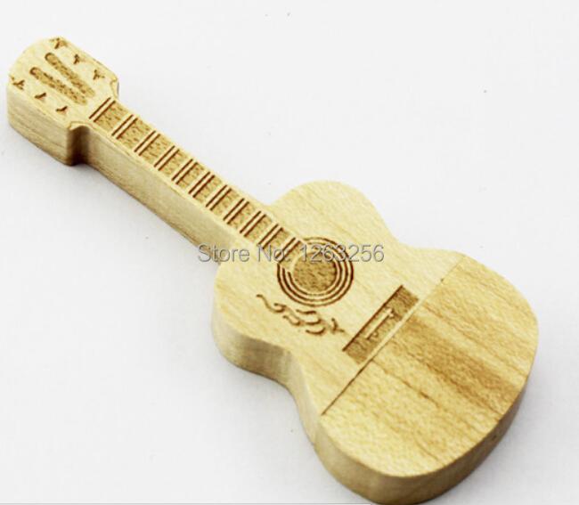 Гаджет  Wooden pen drive Guitar USB Flash Drive Natural Bamboo USB Flashdrive 64GB 32GB 16GB 8GB memory stick None Компьютер & сеть