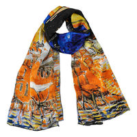 """100% Luxurious Satin Charmeuse Silk Scarf Painting Van Gogh's """"Cafe Terrace at Night"""" Hand Rolled Edges ObLong Scarf Shawl Blues"""