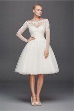 Scoop Long Sleeved Short Wedding Dress ZP341642 Shimmering Lace Appliques Knee Length Sexy Bridal Dress(China (Mainland))