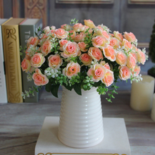 Pretty Charming Delightful 15 Buds 1 Bouquet Mini Rose Artificial Silk Flower Bride Bridal Home Decal Free Shipping(China (Mainland))