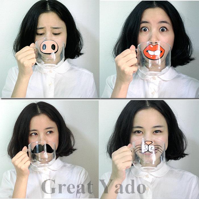 Yizi Novel Circle Handmade Glass Cup Mug Beard Cup 550ML 4 Options Gift for Christmas/Birthday/Wedding(China (Mainland))