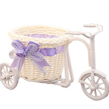 Home Decor Garden Wedding Party Decoration Flower Basket Vase Handmade Rattan Baskets Tricycle Bicycle Gift Photography Props(China (Mainland))