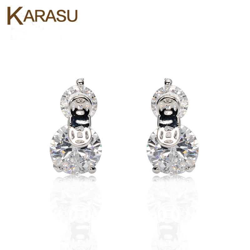 Elegant Double Big Round CZ Diamond Ancient Coins White Gold Plated Stud Earrings for Women Girls Piercing Jewelry(China (Mainland))