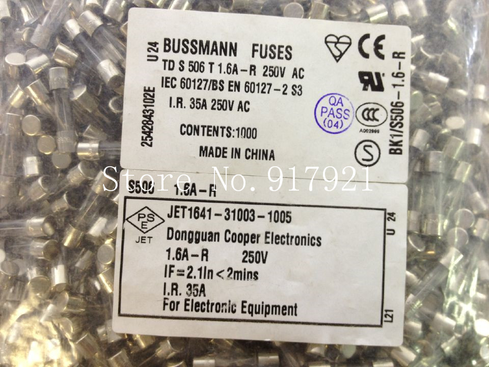 [ZOB] The United States Bussmann BK1/S506-1.6-R 1.6A250VTDS 506T FUSES 5X20 fuse  --200pcs/lot<br><br>Aliexpress