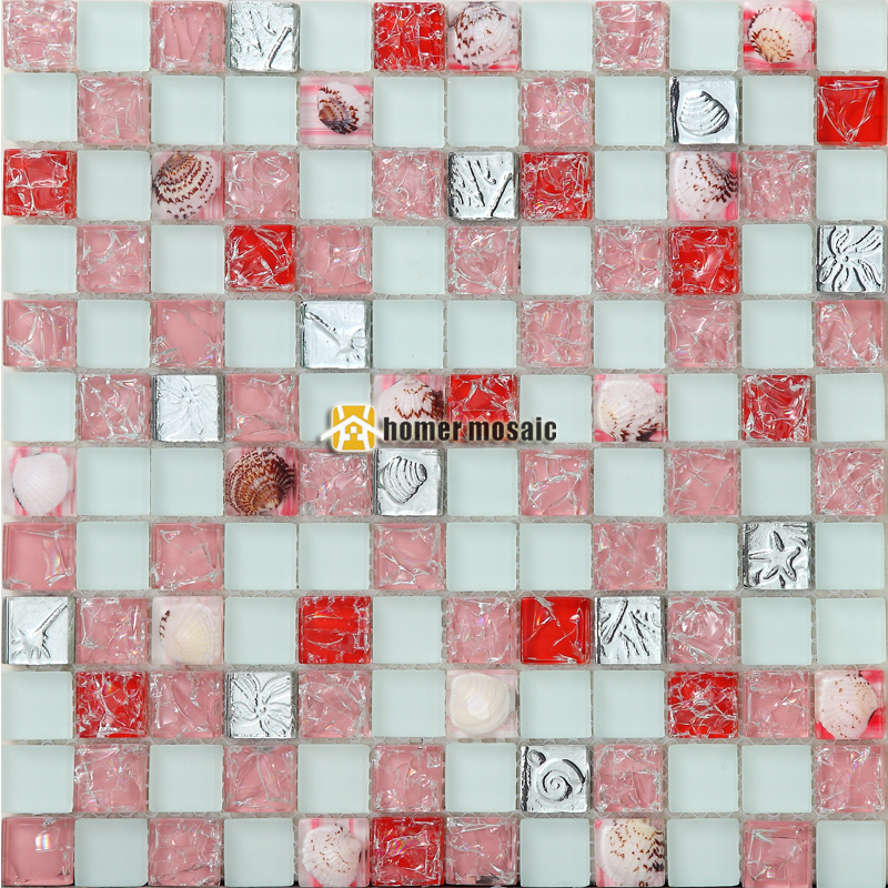 pink and red crystal glass mixed sea shell mosaic tiles EHGM1053F for kitchen backsplash bathroom shower dining room wall(China (Mainland))