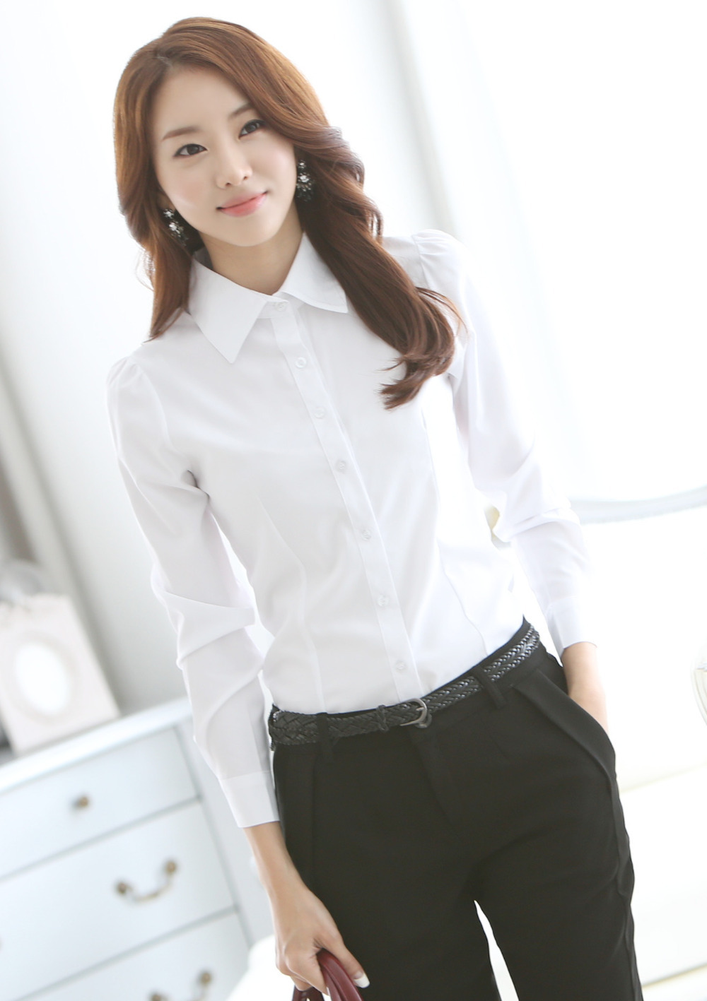 spring 2015 formal office lady chiffon blouse shirt for