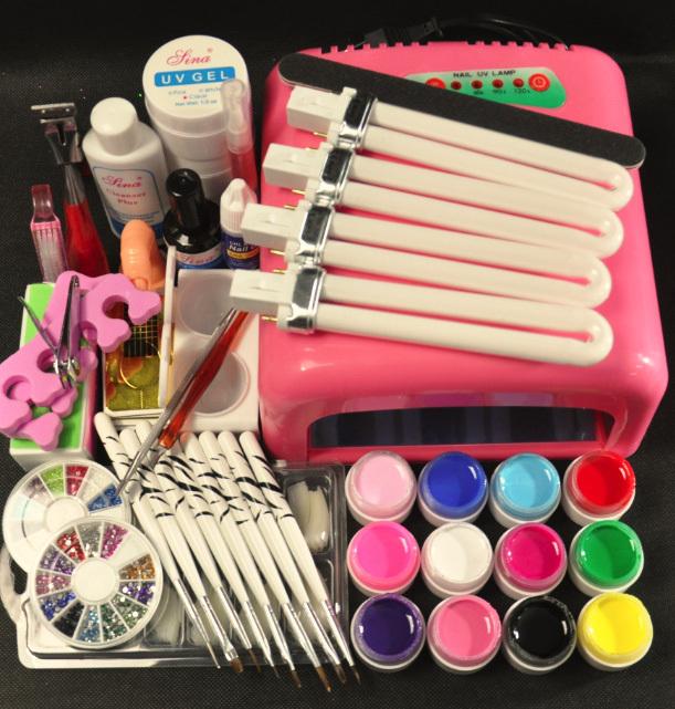 New Pro 36W UV GEL White Lamp & 12 Color UV Gel Nail Art Tool Kits manicure set(China (Mainland))