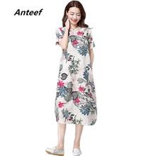 Buy fashion cotton linen vintage print plus size women casual loose long summer autumn dress vestidos femininos party 2017 dresses for $11.93 in AliExpress store