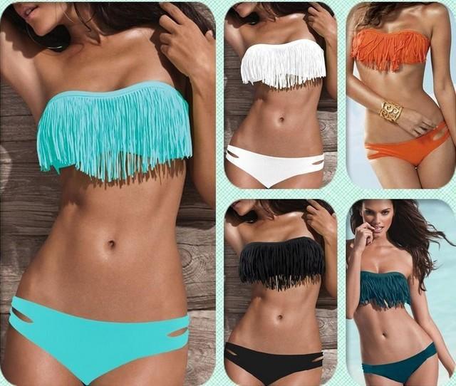 Free shipping Size S M L 7colors choose 2pcs Set Solid color sexy girl fringe Swimsuit Beach tassel women Bikini Swimwear