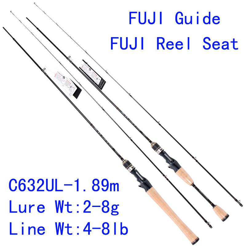 Trulinoya PRO FLEX C632UL-1.89m 95g UL Action Carbon Lure Fishing Rod Ultra Light Casting Rod FUJI Guide Reel Seat Soft Rod(China (Mainland))