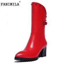 Women Genuine Leather Square Heel Half Boots Woman Pointed Toe Short Botas Rivets zipper Heels Footwear Shoes Size 33-40 - Shop1267192 Store store