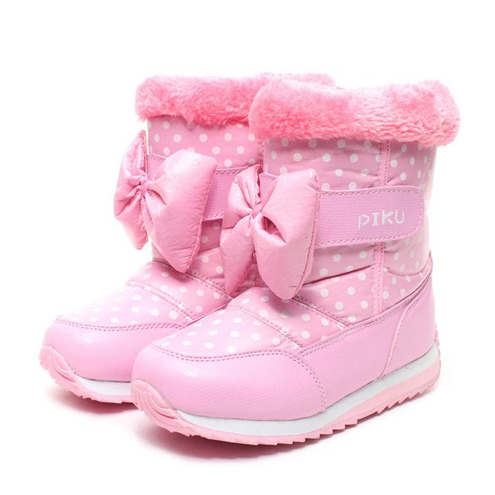 2015 new fashion warm soft non-slip dot children boots girls winter princess snow boots high cotton-padded shoes kids(China (Mainland))
