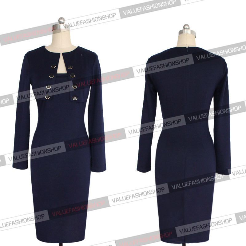 Womens Elegant Pinup Long Sleeve Tunic Cotton Stretch Business Work Party Cocktail Pencil Bodycon Sheath Dress 102 - Europe fashion store