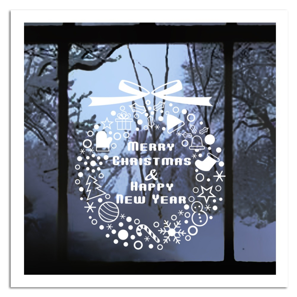2015 Free Shipping Christmas Decor Diy Snowflakes Ring Stickers Wall Decal Removable Art Vinyl For Home Festival Xmas04(China (Mainland))