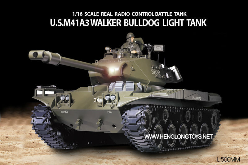 Update!!RC/Remote Control Heng Long Tank HengLong 3839 USA bulldog M41A3 Smog 4xChannel Battle Bomb  Large Size 52*24*20cm