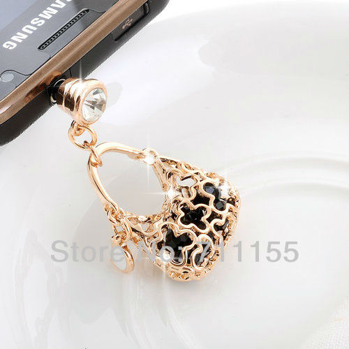 14K Real Gold Plated,100% AAA Quality,Health Metal Alloy,Dust Plug Cell Phone Accessories,Gold Bag Phone Jewelry,Min Order $10(China (Mainland))