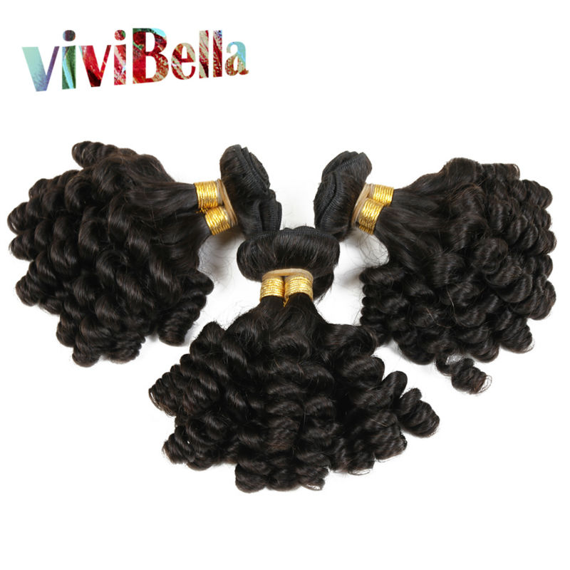 Cheap Bouncy virgin Hair 6A Grade Aunty Funmi Hair 4pcs/lot Hair Weave Bouncy Baby Curls 8-30 Inch Natural Black Free Shipping<br>