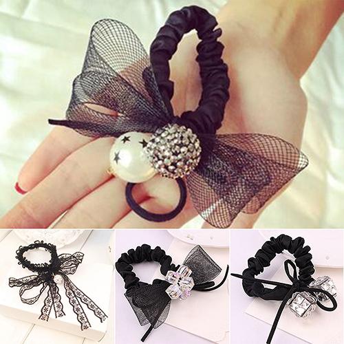 Black Lace Bow Tie Hair Band Rope Scrunchie Ponytail Holder Headband Headwear(China (Mainland))